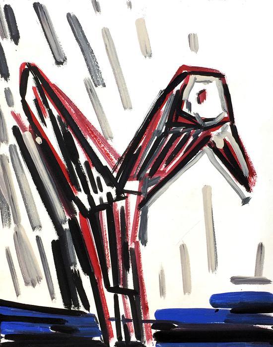 鸟(一) 41cm x 51cm 丙烯 2016