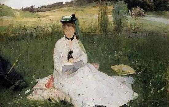 贝尔特?莫里索 Berthe Morisot - Reading with Green Umbrella