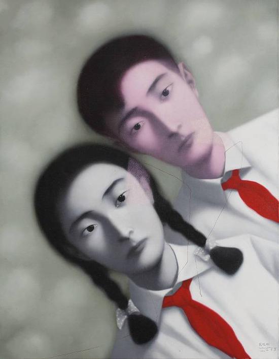 血缘:大家庭,张晓刚,油彩画布,1997年。来源:香港佳士得