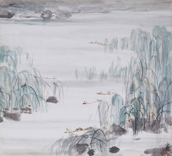 柳岸泛舟,汪亚尘,水墨纸本。来源:上海泓盛