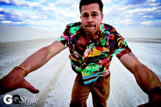 布拉德·皮特,Ryan McGinley为GQ Style拍摄的照片,2017。
