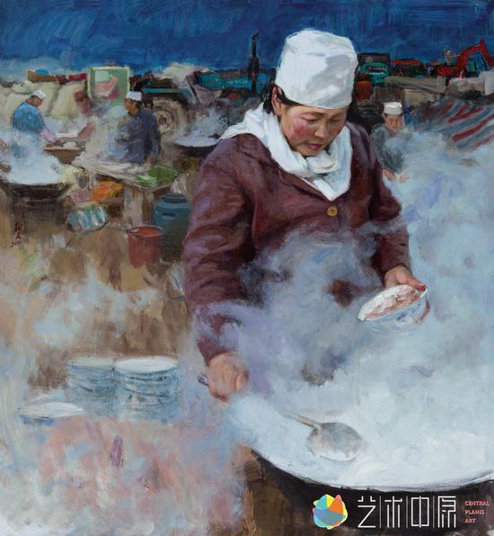 《羊肉汤》 亚麻布 油彩 132x120cm 2011年