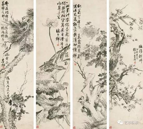 李鱓 《四屏花鸟》