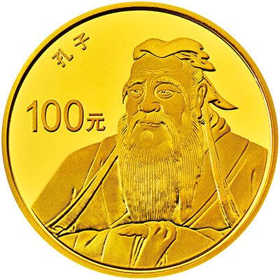 8克圆形金质纪念币背面图案为孔子燕居像