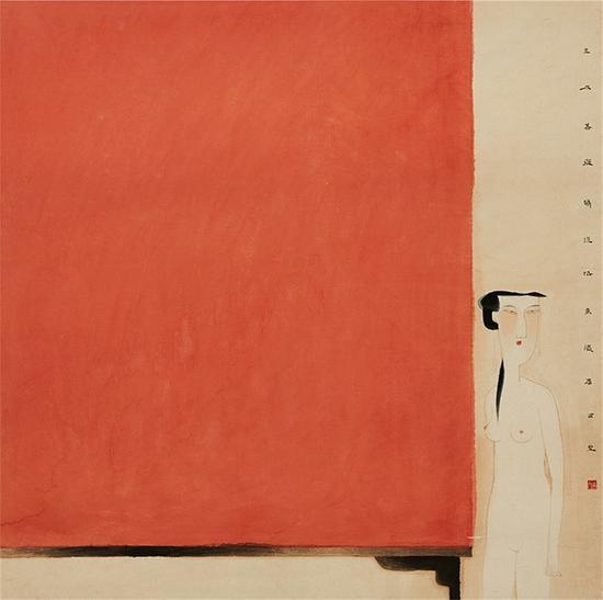 卢甫圣 红屏 69×69cm 纸本 1998年 微拍全球