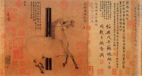 唐代韩幹《照夜白图》 纸本设色 30.8x33.5cm 美国大都会博物馆藏