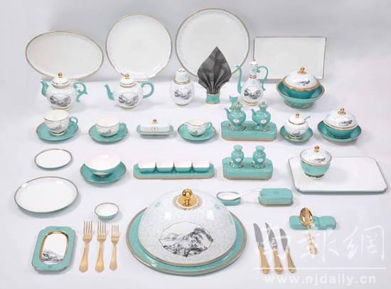 一带一路国宴餐桌取高淳陶瓷展现《富春山居图》