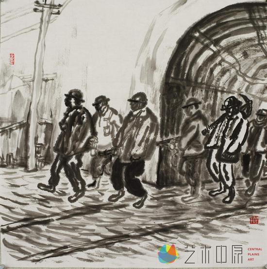 17矿工札记,纸本水墨,2014年