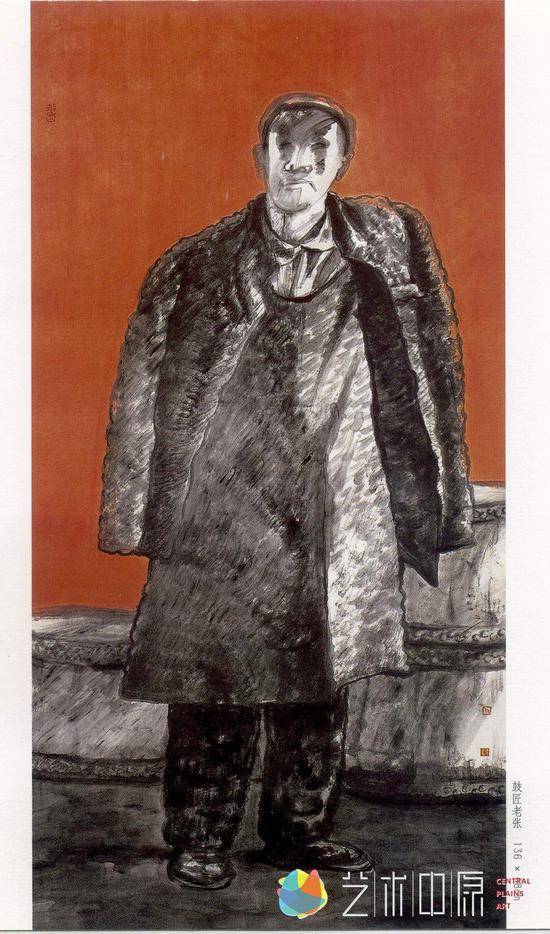 《鼓匠老张》纸本设色,136x68cm,2002年参加河南省首届中国画艺术展,获优秀奖