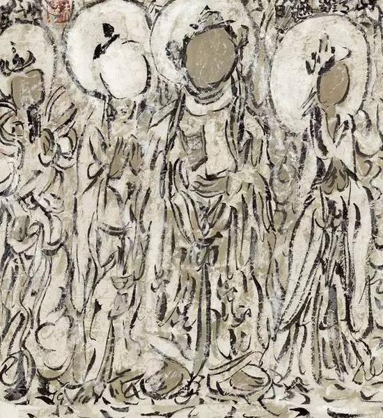 《菩萨造像》年代:2008 规格:34×34cm 品类:中国画