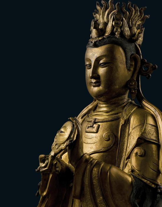 明代 铜鎏金西王母像