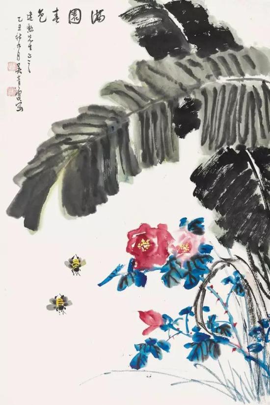Lot443 吴青霞(1910-2008) 满园春光 镜心 设色纸本 1985年作 68.5×46cm. 约2.8平尺