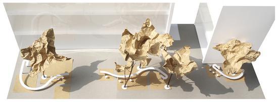 周维《长桌》水磨石,镜面不锈钢,长度_35米,2015