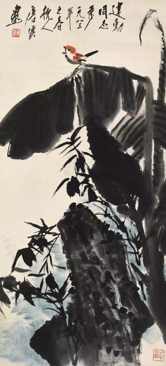 Lot442 唐云(1910-1993) 芭蕉鸣禽 破轴 设色纸本 1983年作   95.5×44cm. 约3.8平尺