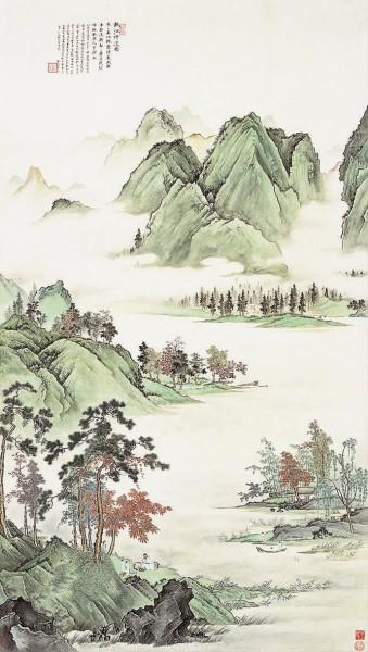 秋江待渡图中国画吴湖帆作