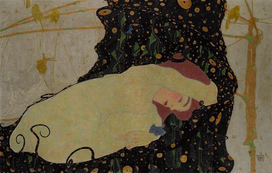 埃贡·席勒的《达娜厄》(1909)。图片:纽约苏富比