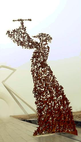 马浚诚巜赤壁怀古》湖北黄冈东坡外滩公共艺术,铁板,2013