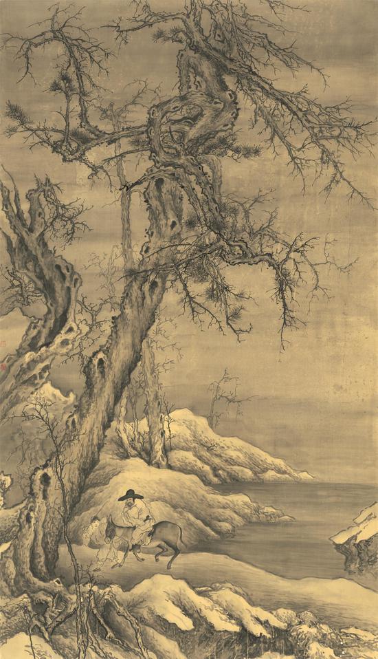 《雪山归猎》  180cm×103cm 绢本水墨 2013年