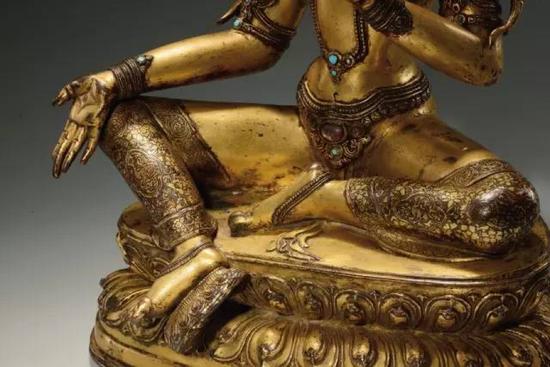 台湾辽楼居旧藏,十四世纪,西藏,绿度母