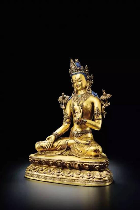 十四世纪 铜鎏金白度母像