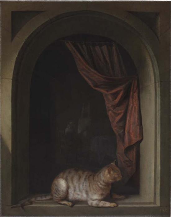 格里特·德奥,艺术家窗口的猫,1657