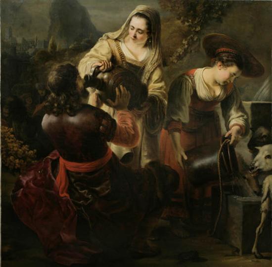 费迪南德·波尔,瑞贝卡和伊莉莎在井边,1645-1646