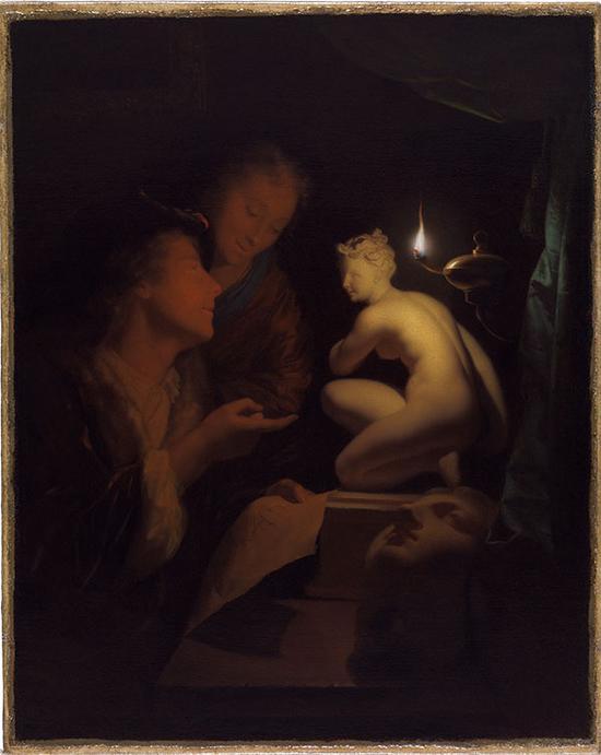 Godefridus Schalcken,青年男女在维纳斯边阅读,1688-92
