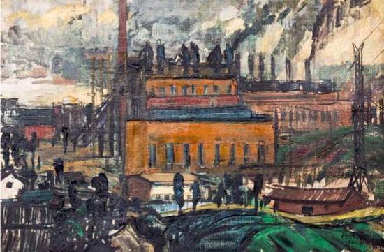 夏培耀《扩建中的502电厂》布面油画,46×71cm,1962