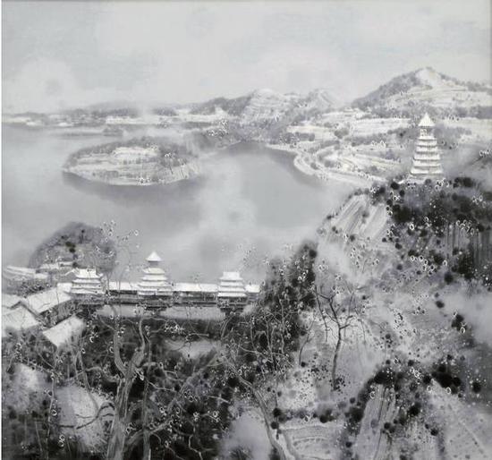 翁凯旋《江南春雪系列之一》布面油画,180×170cm,2015