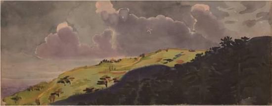 李有行《云涌高原》水彩,23×62cm,20世纪50年代