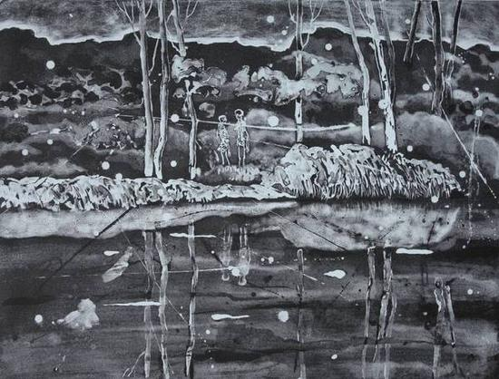 李川《遥远的爱情》石版,90.5×68.5cm,2015