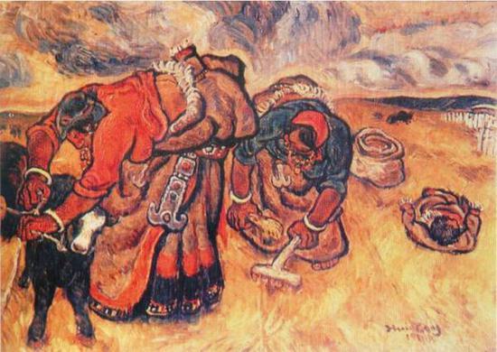 张晓刚《暴雨将临》布面油画,1981