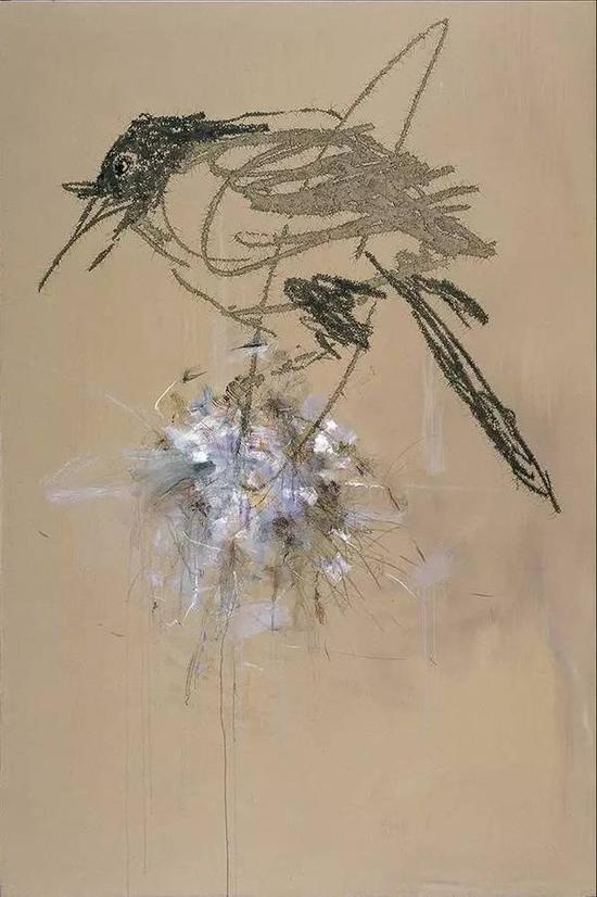 叶永青《花·鸟》布面丙烯,300×200cm,2010年