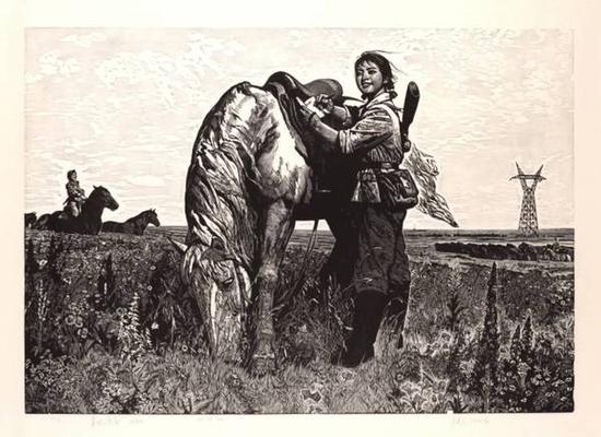 徐匡《草地诗篇》木版画,73×103cm,1975