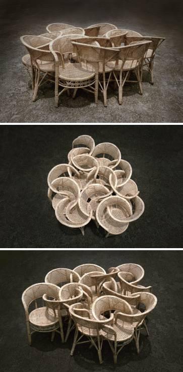 张翔《世界》藤椅,200×200×70cm,2014