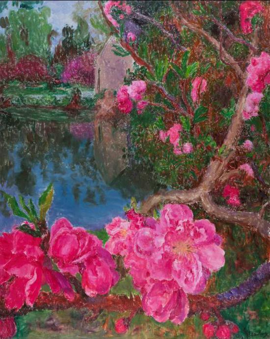 周春芽《湖边》布面油画,250×200cm,2015