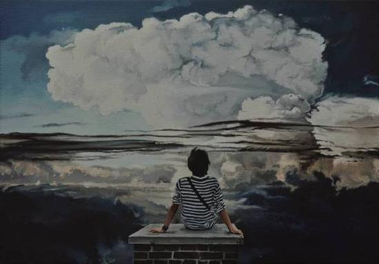 谢宏声《蘑菇云》布面油画,100×70cm,2015