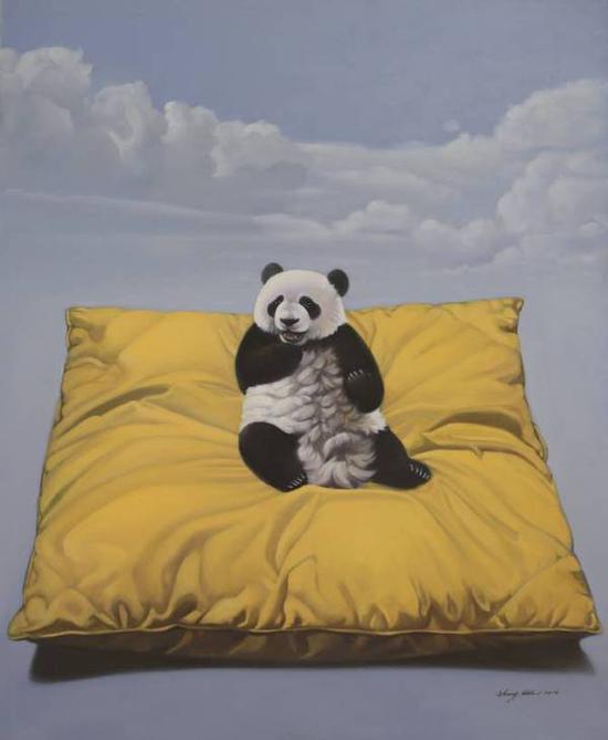 张奇开《吃空气》布面油画,160×130cm,2010