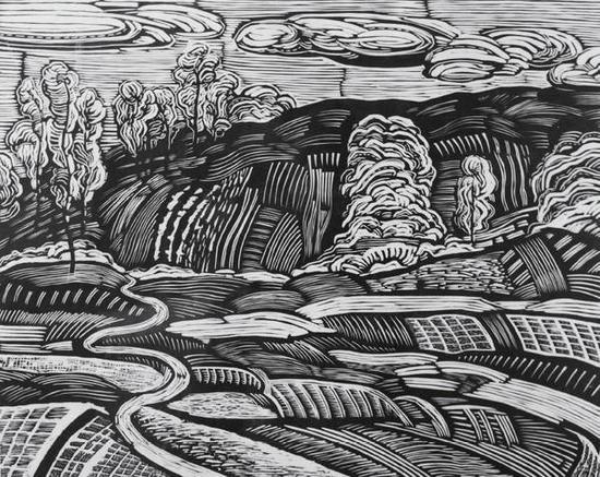 董建华《边城五月之一》木板,61.5×76.5cm,2010