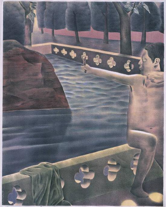 韦嘉《鸟语》石版画,65×51cm,2001