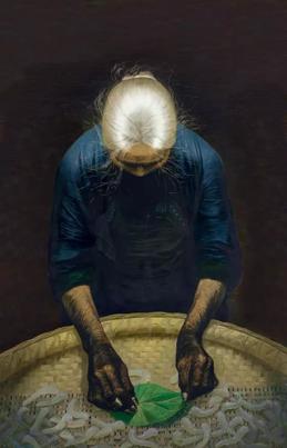 罗中立春蚕 布面 油画 216×140cm