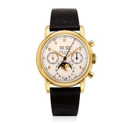 百达翡丽,型号2499,极精细及罕有,18K黄金腕表,配万年历、计时功能及月相显示,成交价: 港元$5,000,000
