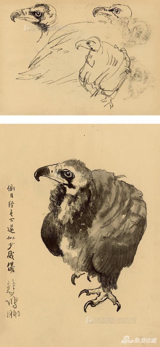 1940年作 灵鹫 - 4·灵鹫 - 5(双面画) 纸本素描