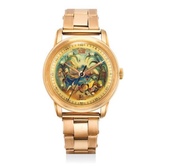 百达翡丽,型号2481,极精细及重要,18K红金链带腕表,配掐丝珐琅表盘及Gay Frères 链带,成交价: 港元$5,900,000
