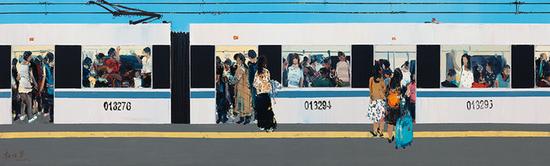 杜海军 九号线地铁【2】 200X60CM 2016年
