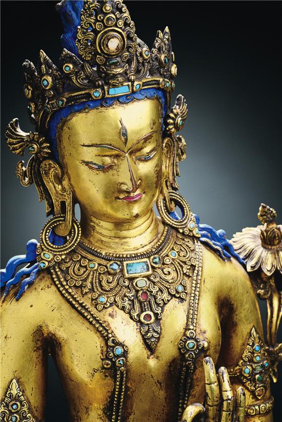 十四世纪 铜鎏金白度母像 H 56 cm 红铜鎏金,镶宝石,嵌银,阳刻梵文铭文。 RMB 15,000,000-20,000,000 成交价:RMB23,000,000