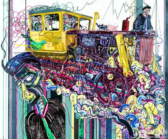 """曾杨 绿莺的思绪——忆彝山""""东方红"""" 190cm×160cm 布面丙烯 2015年"""
