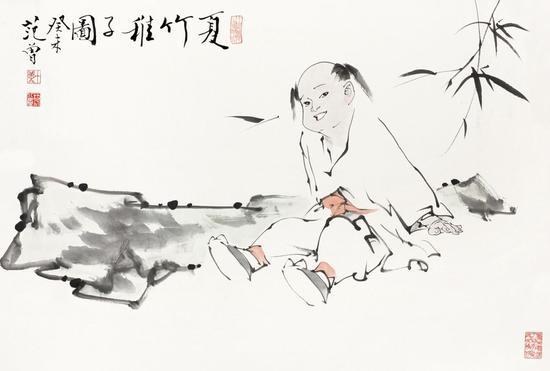 LOT 607    范 曾(b.1938) 夏竹稚子图