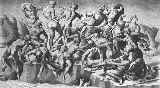 米开朗基罗《卡西那之役》草图(中央部分)的仿作
