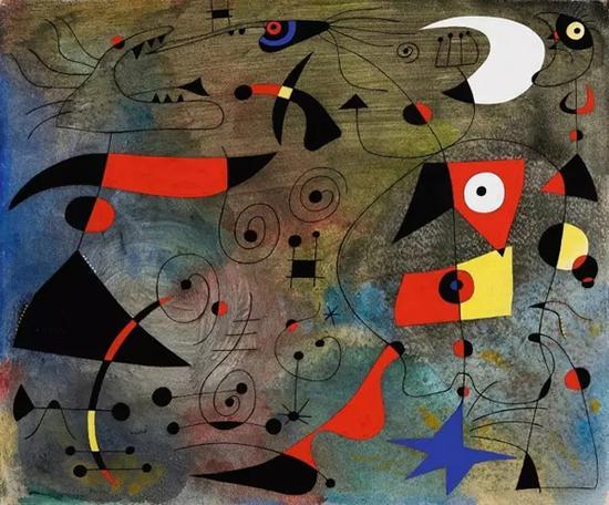 胡安·米罗,《女子与鸟》1940年4月13日水粉、油彩渲染、纸本38 x 46公分
